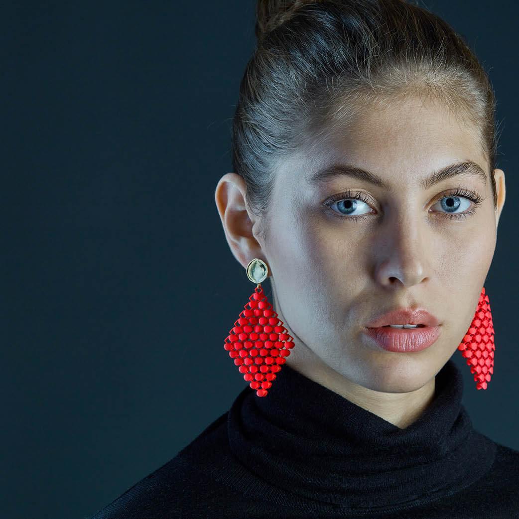 3D-gedruckte Ohrringe weißem Polyamid bunter Designerschmuck Schmuckhersteller